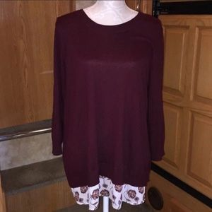 Dalia Burgundy Sweater Floral Inset Blouse